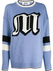 Msgm Oversized Logo Knitted Sweater Blue