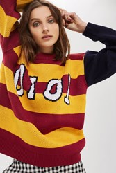 Topshop One Star Print Jumper By Oioi Mustard