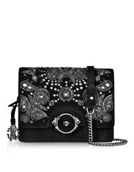 Roberto Cavalli Black Suede Large Crossbody Bag W Embroidered Beads