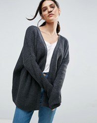 Asos Chunky Cardigan With D Ring Detail Charcoal Grey