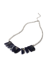 Forever 21 Faux Stone Statement Necklace Blue Silver