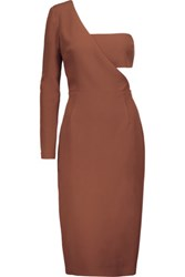 Cushnie Et Ochs One Shoulder Stretch Cady Dress Light Brown