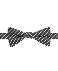 Countess Mara Black And White Stripe Bow Tie Black White