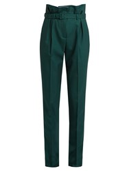 Gabriela Hearst Beatrice High Rise Slim Fit Wool Trousers Dark Green