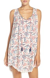 Lucky Brand Women's Print Cotton Chemise Ivory Floral