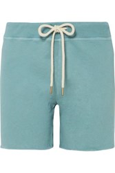 The Great Sweat Frayed Loopback Cotton Jersey Shorts Turquoise