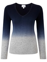 Pure Collection Laura V Neck Jumper Heather Grey Dip Dye