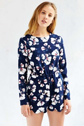 Urban Outfitters Printed Long Sleeve Scallop Edge Romper Floral Multi