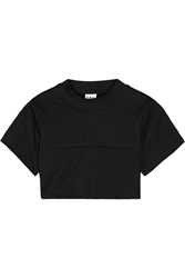 Oak Cropped Quilted Cotton Top Black