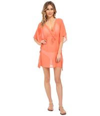 Echo Solid Silky Butterfly Cover Up Bright Coral Women's Swimwear Gray
