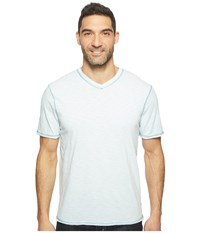 True Grit Heritage Slub Short Sleeve V Neck Tee W Contrast Stitch Pale Pool Men's Clothing Blue