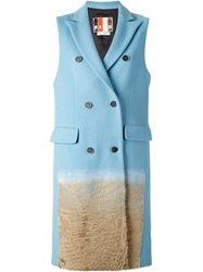 Msgm Textured Ombre Detail Sleeveless Coat Blue