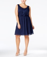 Love Squared Plus Size Lace Trim Chiffon Dress Navy