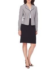 Tahari By Arthur S. Levine Houndstooth Skirt Suit Black White