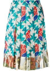 Chanel Vintage Floral Print Pleated Skirt Multicolour