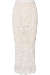Alice Olivia Griselda Crocheted Linen Blend Maxi Skirt Ivory