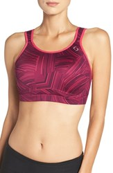 Moving Comfort Women's 'Maia' Underwire Bra Sangria Cosmo Poppy