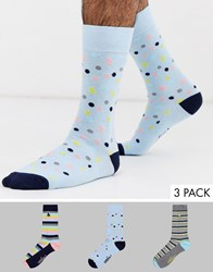Penguin 3 Pack Socks In Pastel Stripes And Spots Multi