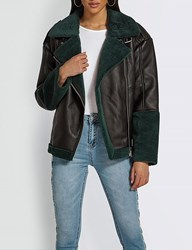 Missguided Shearling Collar Faux Leather Aviator Jacket Black