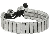 Steve Madden Stainless Steel Rectangle Bar W Ball And Horn Leather Bracelet Silver Bracelet