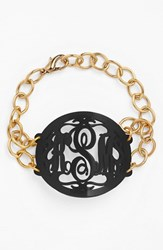 Women's Moon And Lola 'Annabel' Large Oval Personalized Monogram Bracelet Ebony Gold Nordstrom Exclusive