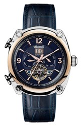 Ingersoll Watches 'S Michigan Automatic Multifunction Leather Strap Watch 45Mm Blue Rose Gold Silver