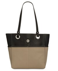 Giani Bernini Pebble Leather Large Tote Created For Macy's Black Cappuccino