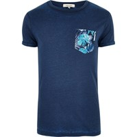 River Island Mens Dark Blue Chest Print T Shirt