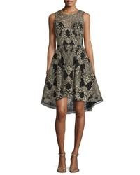 Marchesa Embroidered High Low Cocktail Dress Black
