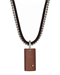 Bliss By Damiani Brown Stainless Steel Uomo Pendant Necklace W Diamond