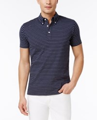 Brooks Brothers Red Fleece Men's Button Down Striped Cotton Polo Navy