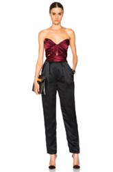 J. Mendel Knot Drape Charmeuse Jumpsuit In Red Black
