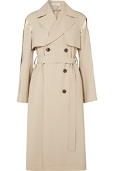 Adeam Wool Blend And Quilted Silk Satin Trench Coat Beige