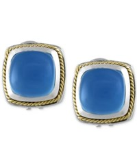 Effy Collection Serenity By Effy Chalcedony 6 1 3 Ct. T.W Square Earrings In Sterling Silver With 18K Gold Accents