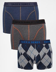 Jack And Jones Jack And Jones 3 Pack Trunks With Check Blue