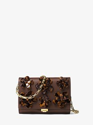 Michael Kors Yasmeen Small French Calf Floral Clutch Brown