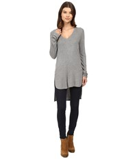 Heather Long Sleeve V Neck High Low Tunic Light Grey Women's Clothing Silver