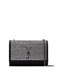 Saint Laurent Kate Sequin Embellished Shoulder Bag Silver