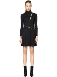 Versus Jersey Dress W Safety Pin And Zip Detail