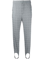 Le Ciel Bleu Checked Strap Detail Trousers Grey