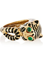 David Webb Tiger 18 Karat Gold Emerald And Enamel Ring