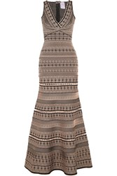Herve Leger Stretch Jacquard Knit Gown Beige