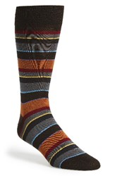 Bugatchi Men's 'Pop' Stripe Socks Chocolate
