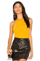 H Ours High Neck Scooped Cheeky Bodysuit Mustard