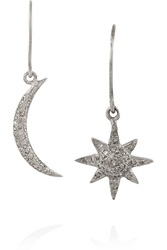 Ileana Makri Indian Moon And Sun Oxidized Silver Diamond Earrings