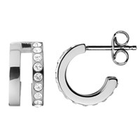 Dyrberg Kern Swarovski Crystal Hoop Earrings Silver