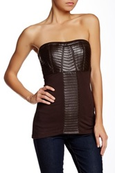Sky Mixed Media Leather Tube Top Brown