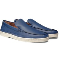 Ermenegildo Zegna Textured Leather Loafers Blue