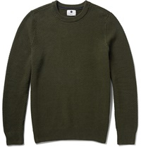 Nn.07 Midas Seed Stitched Cotton Sweater Green