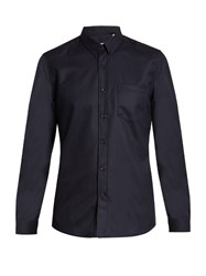 Ami Alexandre Mattiussi Point Collar Patch Pocket Wool Shirt Navy